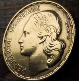 50 Франков, 1953года, Франция,Монета, Монеты, 50 Francs1953,RepubliqueFrancaise, France,Гілка оливкового дерева, Olive, Ветвь оливковогодерева,Півень,Cock,Петух на монете,Girl,Девушкана монете.