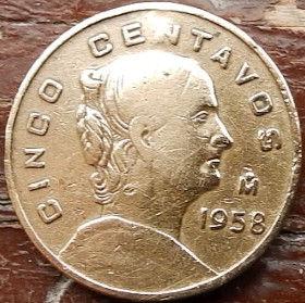 5 Сентаво, 1958 года,Мексика, Монета, Монеты, 5 CincoCentavos 1958,Estados Unidos Mexicanos, Жінка, Woman, Женщинана монете, Coat of arms of Mexico, Герб Мексикина монете.