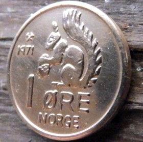 1 Эре, 1971 года, Норвегия, Монета, Монеты, 1 Ore 1971, Norge, Fauna,Фауна,Білка,Squirrel, Белочка на монете,Crown,Корона,Monogram, ВензельКороляОлафа V на монете.