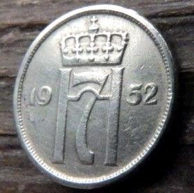 10 Эре, 1952 года, Норвегия, Монета, Монеты, 10 Ore 1952, Norge,Crown,Корона,Monogram, ВензельКороляГокона VII на монете.