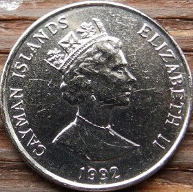 25 Центов, 1992 года, КаймановыОстрова, Монета, Монеты, 25 Twenty-Five Cents 1992, Cayman Islands, Корабель, Вітрильник,Ship, Sailboat, Корабль, Парусник на монете,Королева Elizabeth II, Елизавета IIна монете, Третий портрет королевы.