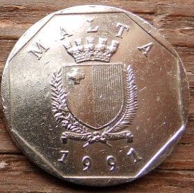 50 Центов, 1991 года, Мальта, Монета, Монеты, 50 Cents 1991, Malta, Flora,Флора,Квітка,Flower,Цветокна монете, Coat of arms,Гербна монете.