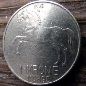 1 Крона, 1973 года, Норвегия, Монета, Монеты, 1 Krone 1973, Norge, Fauna, Фауна, Кінь, Horse,Коньна монете,Король ОлафV на монете.