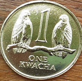 1 Квача, 1992 года, Замбия, Монета, Монеты, 1 One Kwacha 1992,  Zambia, Фауна, Птах, Орел, Fauna, Bird, Eagle, Фауна, Птица, Орел на монете, Coat of arms of Zambia,  Герб Замбии на монете.