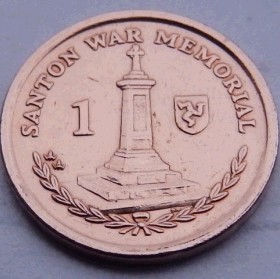 1 Пенни, 2008 года, Остров Мэн, Монета, Монеты, 1 OnePenny 2008, Isle of Man, Пам'ятник воїнам, Santon war memorial,Памятник воинамна монете,Королева Elizabeth II, Елизавета IIна монете, Четвертыйпортрет королевы.