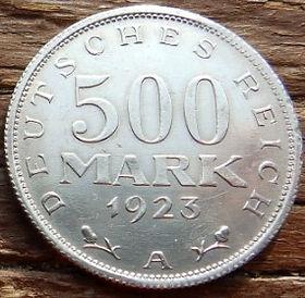 500 Марок,1923 года, Германия, Німеччина,Монета, Монеты, 500 Mark1923,Deutsches Reich,Coat of arms,Герб,Fauna, Фауна, Пташка, Bird,Птица, Eagle, Орел на монете.