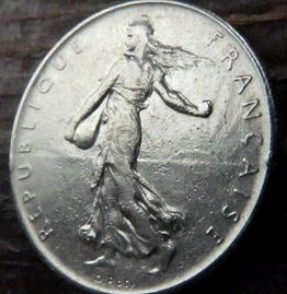 1 Франк, 1960 года, Франция,Монета, Монеты, 1 Franc 1960,RepubliqueFrancaise, France,Гілка оливкового дерева, Olive, Ветвь оливковогодеревана монете,Girl,Девушкана монете.