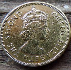 10 Центов, 1971 года, Гонконг, Монета, Монеты, 10 Ten Cents 1971, Hong-Kong,Королева Elizabeth II, Елизавета IIна монете, Второй портрет королевы.