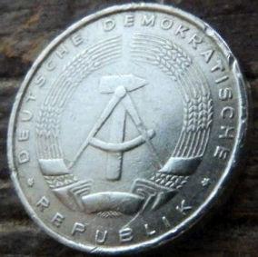 5 Пфеннигов,1968 года, ГДР, Германия, Німеччина,Монета, Монеты, 5 Pfennig 1968, DDR,Spikelets, Колоски,Hammer, Молоток на монете.