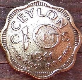 10 Центов, 1944 года,Цейлон, Монета, Монеты, 10Cents 1944, Ceylon, КорольGeorge VI, Георг VIна монете.