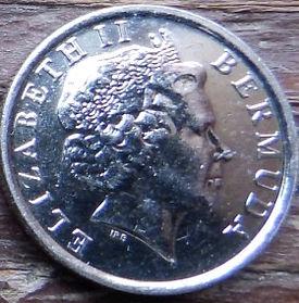 10 Центов, 2003 года, Бермудские Острова, Монета, Монеты, 10 Ten Cents 2003, Bermuda,Flora, Flower,Lilium longiflorum,Флора, Цветок,Лилия Лонгифлорумна монете,Королева Elizabeth II, Елизавета IIна монете, Четвертый портрет королевы.