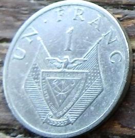 1 Франк, 1985 года, Руанда,Монета, Монеты, 1 Un Franc 1985,Rwanda, Coat of arms of Rwanda,Герб Руандына монете, Флора, Рослина, Flora, Plant,Флора, Растениена монете.