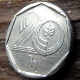 20 Геллеров, 1994 года,Чехия,Монета, Монеты,20 Hellers1994, Ceska Republika,Coat of Arms, Герб,Fauna, Фауна,Lion, Левна монете.