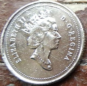 10 Центов, 1996 года,Канада, Монета, Монеты, 10 Cents 1996, Canada,Човен, Яхта, Корабель, Boat, Yacht, Ship, Лодка, Яхта, Корабльна монете, Королева Elizabeth II, Елизавета IIна монете, Третий портрет королевы.