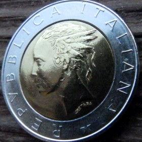 500 Лир, 1982 года, Италия, Монета, Монеты, 500 Lire1982, Italiana, Italy,Square in Rome,Площадь в Риме на монете,Жінка, Woman, Женщинана монете.