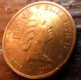 1 Пенни, 1994 года, Остров Мэн, Монета, Монеты, 1 OnePenny 1994, Isle of Man, Gear,Шестерня,Токарний верстат,Lathe,Токарный станокна монете,Королева Elizabeth II, Елизавета IIна монете, Третий портрет королевы.