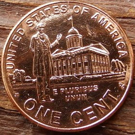 1 Цент, 2009 года,Соединенные Штаты Америки, Монета, Монеты, 1 One Cent 2009,The United States of America,Lincoln in front of the Capitol Building in Springfield, Линкольн перед зданием капитолия в Спрингфилдена монете, President Abraham Lincoln, Президент Авраам Линкольнна монете.