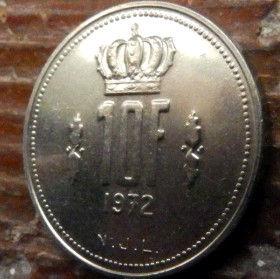 10 Франков, 1972 года, Герцогство Люксембург, Монета, Монеты, 10 Franks1972, Letzeburg, Luxembourg,Рослинний орнамент,растительный орнамент,floral ornament,Корона, Crownна монете,Великий герцог Жан на монете.