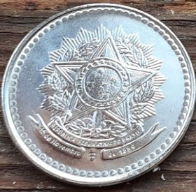 10 Крузадо,1987 года, Бразилия, Монета, Монеты, 10 Cruzados1987, Brasil,Coat of arms of Brazil,Герб Бразилии на монете.