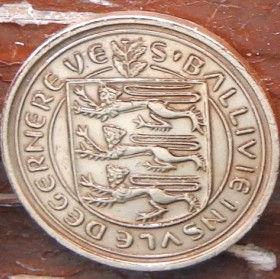 1/2 Пенни, 1971 года, Гернси, Монета, Монеты, 1/2 New Penny 1971, Guernsey,Coat of Arms,Герб,Fauna, Фауна,Lions, Львы на монете.
