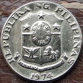 10 Сентимов, 1974 года, Филиппины,Монета, Монеты, 10 Sentimos 1974,Republika ng Pilipinas, Francisco Baltasar,Франциско Бальтазарна монете,Coat of arms of the Philippines, Герб Филиппинна монете.