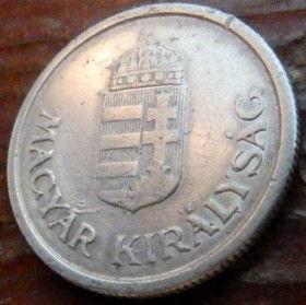1 Пенго, 1941 года,Венгрия, Монета, Монеты,1Pengo 1941,Hungary, Угорщина, Magyar,Рослинний орнамент,растительный орнамент,floral ornament, Crown, Корона,Coat of arms,Герб на монете.