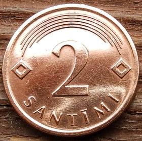 2 Сантима, 2009 года, Латвия, Монета, Монеты, 2 Santimi 2009, Latvijas Republika,Coat of Arms,Герб,Fauna, Фауна,Lions, Львы, Sun,Cолнце, Stars,Звездына монете.