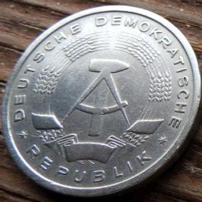 1 Марка,1956 года, ГДР, Германия, Німеччина,Монета, Монеты, 1 Mark1956,DDR,Oak leaves,Дубовые листья на монете,Spikelets, Колоски,Hammer, Молоток на монете.