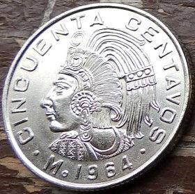 50 Сентаво, 1964 года,Мексика, Монета, Монеты, 50 Cincuenta Centavos 1964,Estados Unidos Mexicanos,Вождь ацтеків Куаутемок,The leader of the Aztecs Kuautemok,Вождь ацтеков Куаутемокна монете,Coat of arms of Mexico, Герб Мексикина монете.