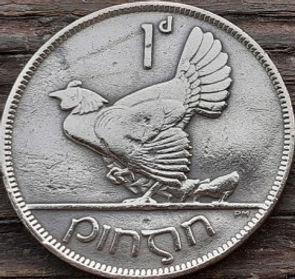 1 Пенни, 1928 года, Ирландия, Монета, Монеты,Ireland, 1 d, Penny 1928, Eire,Bird, Птица,Chicken with Chickens,Курица с цыплятами на монете,Harp,Арфа на монете.
