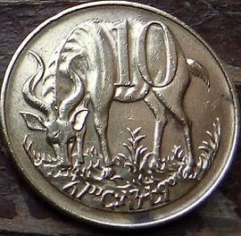 10 Сантимов, 1977 года, Эфиопия,Монета, Монеты, 10 Centimes 1977,Ethiopia,Mountain nyala,Горная ньялана монете,Roaring lion head,Голова рычащего львана монете.