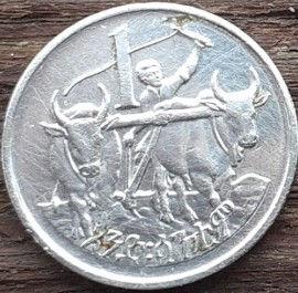 1 Сантим, 1977 года, Эфиопия,Монета, Монеты, 1 Centime1977,Ethiopia,Селянин оре на двох волах,Farmer plowing on two oxen,Крестьянин пашущий на двух волахна монете,Roaring lion head,Голова рычащего львана монете.