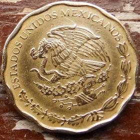50 Сентаво, 2003 года,Мексика, Монета, Монеты, 50 Centavos 2003,Estados Unidos Mexicanos,Оrnament,Орнамент на монете,Coat of arms of Mexico, Герб Мексикина монете.