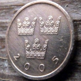 50 Эре, 2005 года, Швеция, Монета, Монеты, 50 Ore 2005, Sverige, Sweden,Crown,Коронана монете.