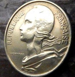 10 Сантимов, 1964 года, Франция,Монета, Монеты, 10 Centimes1964, RepubliqueFrancaise,France,Рослинний орнамент,растительный орнамент,floral ornament на монете,Girl,Девушкана монете.