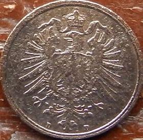 2 Пфеннига,1873 года, Германия, Німеччина,Монета, Монеты, 2 Pfennig 1873,Deutsches Reich, Coat of arms,Герб,Корона, Crown, Fauna, Фауна, Пташка, Bird,Птица, Eagle, Орел на монете.
