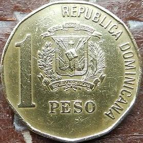 1 Песо, 1992 года, Доминиканская Республика, Монета, Монеты, 1 Peso1992, Republica Dominicana,Coat of arms of the Dominican Republic, Герб ДоминиканскойРеспубликина монете,Juan Pablo Duarte,Хуан Пабло Дуарте на монете.