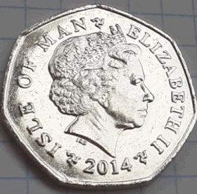 50 Пенсов, 2014 года, Остров Мэн, Монета, Монеты, 50 Pence 2014, Isle of Man, Milner's Tower, Башня Милнера на монете, Королева Elizabeth II, Елизавета II на монете, Четвертый портрет королевы.