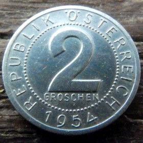 2 Гроша,1954года, Австрия,Монета, Монети,Osterreich, 2 groschen1954, Austria,Австрія, Герб, Орел.