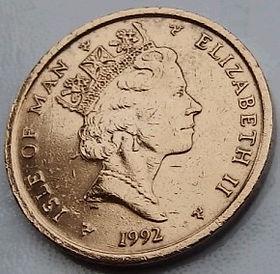 2 Пенса, 1992 года, Остров Мэн, Монета, Монеты, 2 TwoPence 1992, Isle of Man,Celtic cross with instruments in a circle,кельтский крест с инструментами в кругена монете,Королева Elizabeth II, Елизавета IIна монете, Третий портрет королевы.
