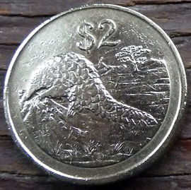 2 Доллара, 1997 года, Зимбабве, Монета, Монеты, 2 Dollars 1997,  Zimbabwe, Steppe Lizard - Pangolin, Степной Ящер - Панголин на монете, Bird of Zimbabwe, Птица Зимбабве на монете.