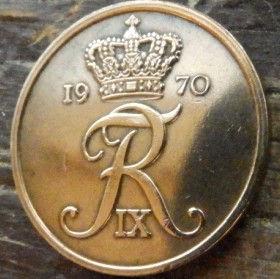 5 Эре, 1970 года, Дания, Монета, Монеты, 5 Ore 1970, Danmark, Spikelets, Колоски на монете, Crown,Корона,Monogram, ВензельКороляФредерика IX на монете.