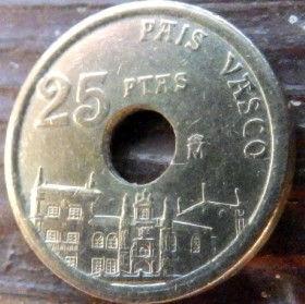 25 Песет, 1993 года, Испания, Монета, Монеты, 25Pesetas 1993, Espana,Spain,Pais Vasco,Страна Басков, Стара будівля,Old building,Старое здание на монете,Монета с отверстием посередине.
