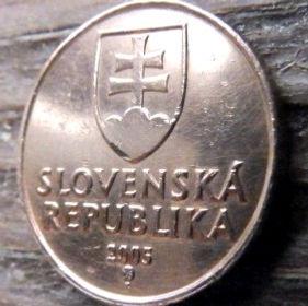 50Геллеров, 2005года,Словакия,Монета, Монеты,50 Hellers2005, Slovenska Republika,Дівоча вежа на скелі, Tower on the rock, Девичья башня на скалена монете, Coat of Arms, Гербна монете.