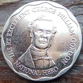 10 Долларов, 2008 года, Ямайка, Монета, Монеты, 10 Ten Dollars 2008, Jamaica,Coat of arms ofJamaica, Герб Ямайкина монете, George William Gordon,Джордж Вильям Гордонна монете.