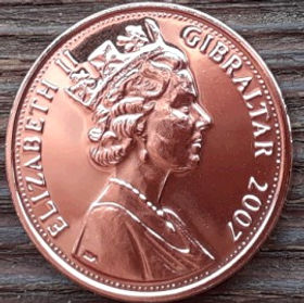 2 Пенса, 2007 года, Гибралтар, Монета, Монеты, 2 Two Pence 2007, Gibraltar, Diamond Wedding, Діамантове весілля, Бриллиантовая свадьбана монете,Королева Elizabeth II, Елизавета IIна монете, Пятый портрет королевы.