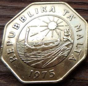 25Центов, 1975 года, Мальта, Монета, Монеты, 25 Cents 1975, Malta,Рослинний орнамент,растительный орнамент,floral ornament на монете,Sea, Море,Човен,Boat,Лодка, Sun,Cолнцена монете, Восьмиугольная монета.