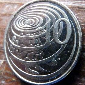 10 Центов, 1992 года, КаймановыОстрова, Монета, Монеты, 10 Ten Cents 1992, Cayman Islands,Fauna,Turtle,Фауна, Черепаха на монете,Королева Elizabeth II, Елизавета IIна монете, Третий портрет королевы.