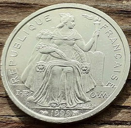 2 Франка, 1999 года, Французская полинезия,Монета, Монеты, 2 Francs 1999,RepubliqueFrancaise, Polynesie Francaise, Тропічний пейзаж, Tropical landscape,Тропический пейзажна монете, Marianne, Марианна на монете.