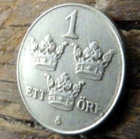 1 Эре, 1946 года, Швеция, Монета, Монеты, 1 Ore 1946, Sverige, Sweden,Crown,Корона,Monogram, ВензельКороляГустава V на монете.